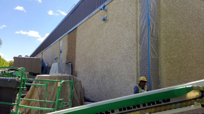 Northeast corner, East Elevation, Surface preparation completed, Base Coat Application of the exposed aggregate stucco masonry Johnson & Johnson Co. Division JOM Pharmaceuticals Somerset, NJ